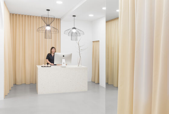 Acoustic sheers block sound and provide privacy in Barbara Forcher's studio FACEIT