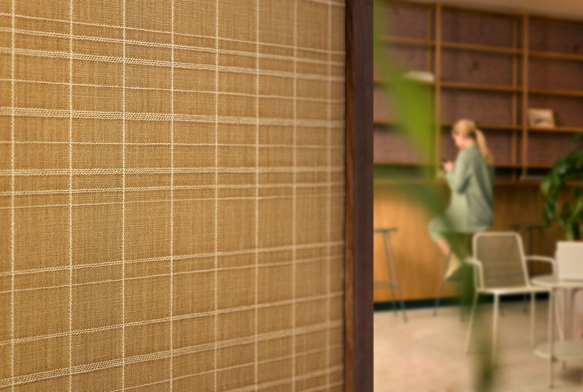 Textile wallcovering design Puralin applied in a hotel