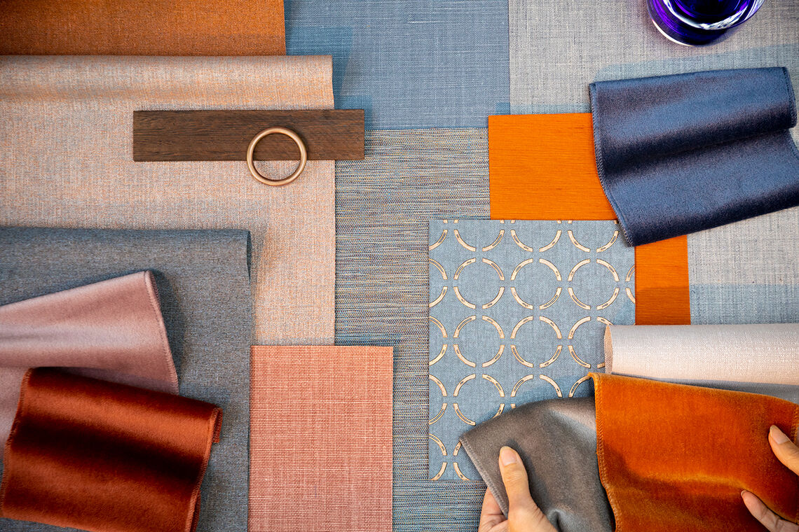 Close-up of wallcovering & curtain samples