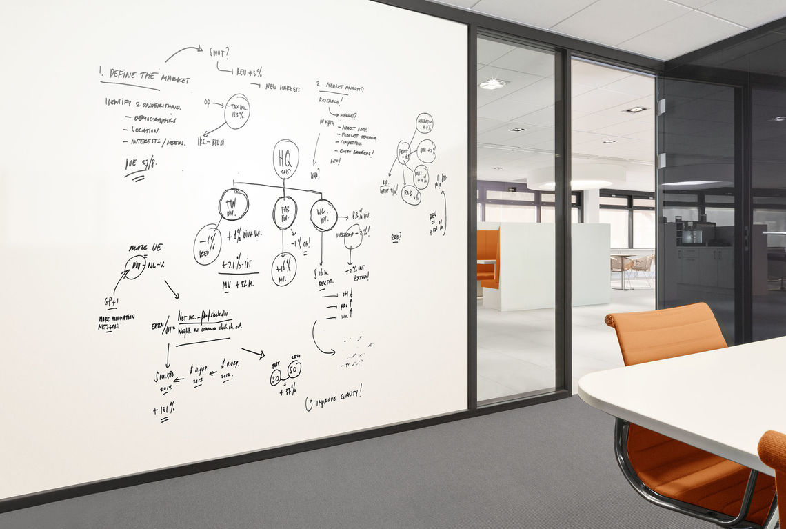 The Just-Rite walltalker allows employees to literally write on the wall. The vinyl surface is dry-erasable
