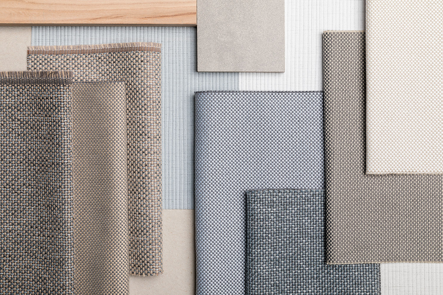various upholstery fabrics combined