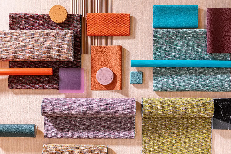 collage van diverse kleuren van meubstof Dikson