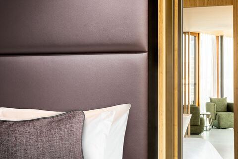 vinyl upholstery design Leone Plus on headboard