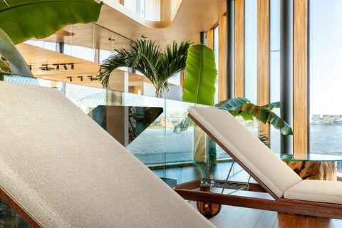 vinyl upholstery creek on beds in welness center