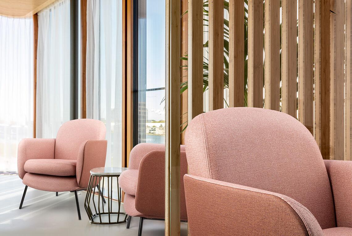 pink vinyl upholstery design Creek on furniture