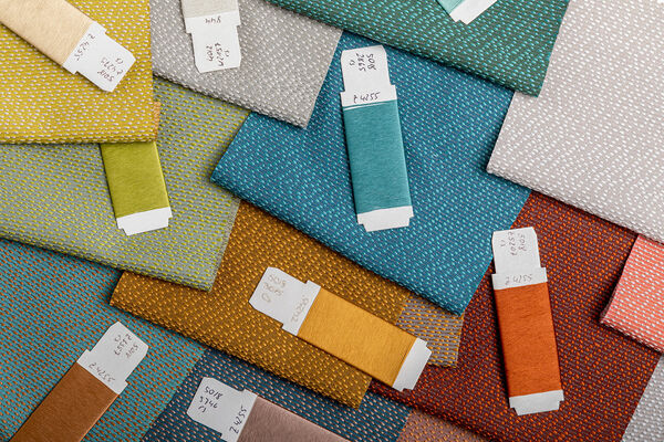 close up of curtain fabric delos