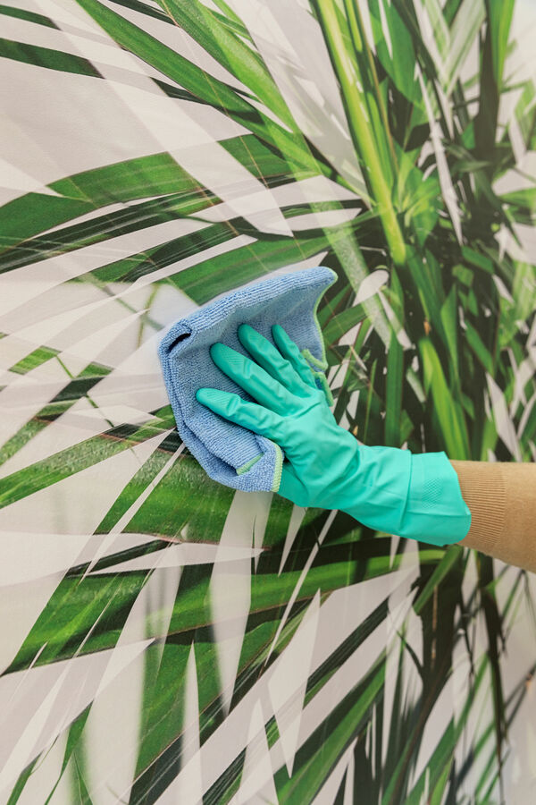 someone cleaning a customized digital printed wallcovering
