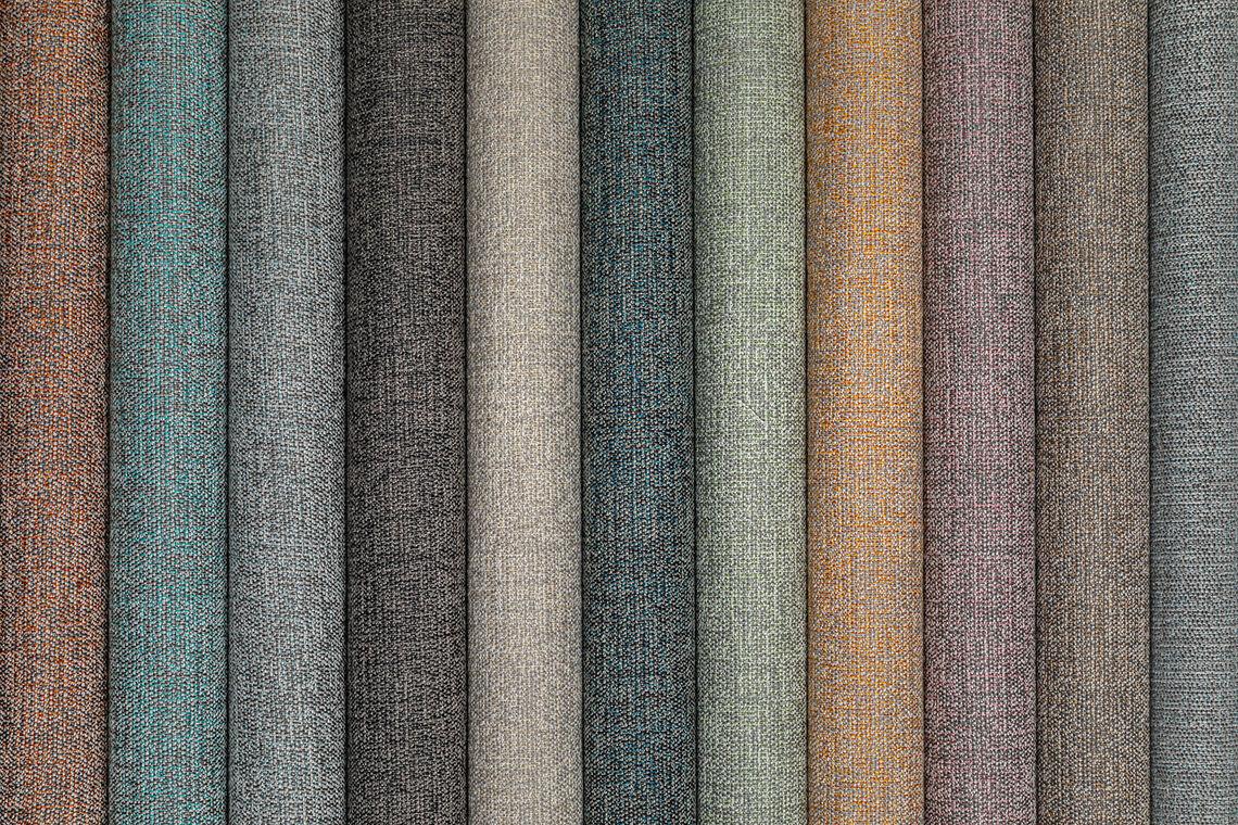 Diverse kleuren van gordijnstof Ellis
