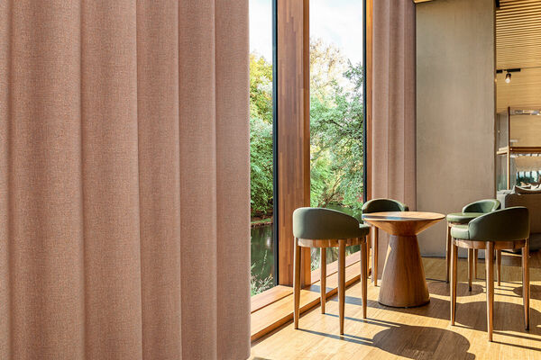 Linen-inspired curtain fabric