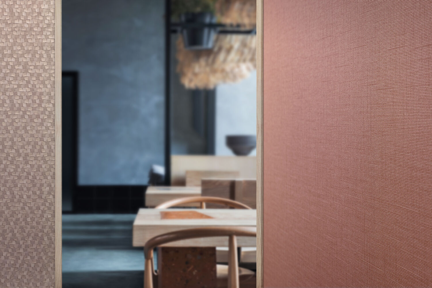 two structured wallcoverings in a hospitality setting