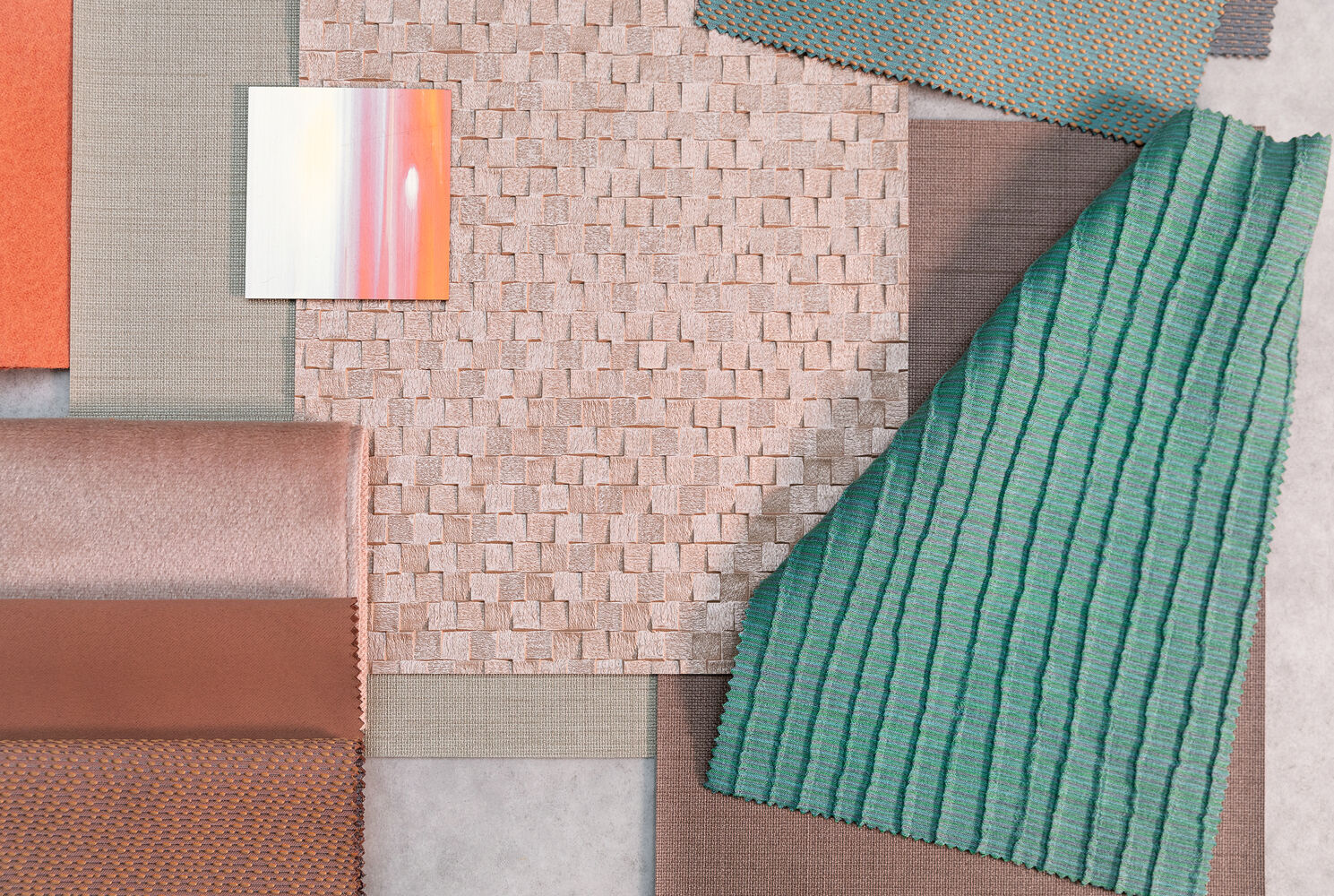 different colour samples from various product groups
