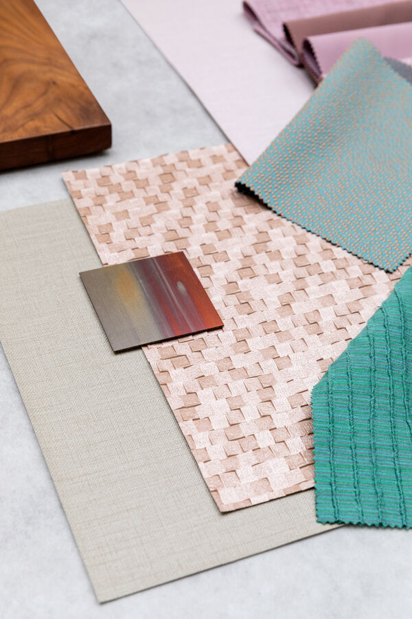 pink and green samples from various products