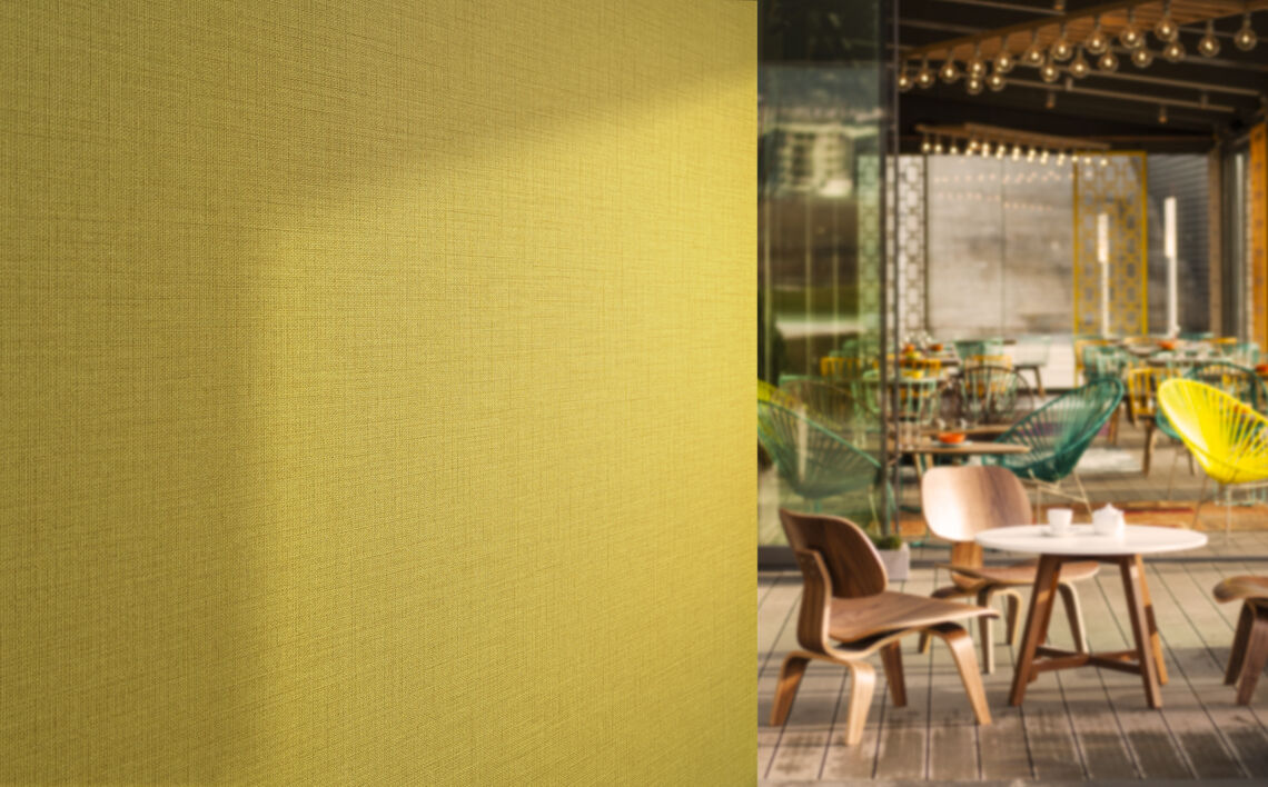 Green wallcovering in a hospitality setting