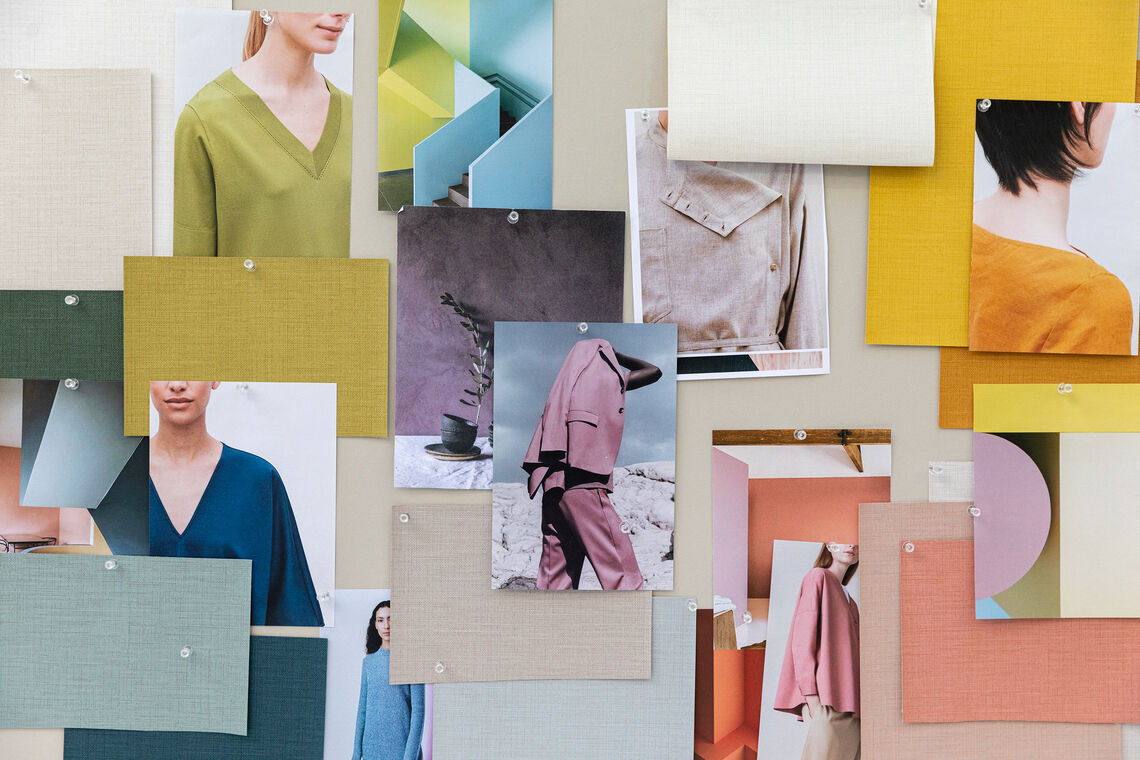 Moodboard with wallcovering and fashion samples