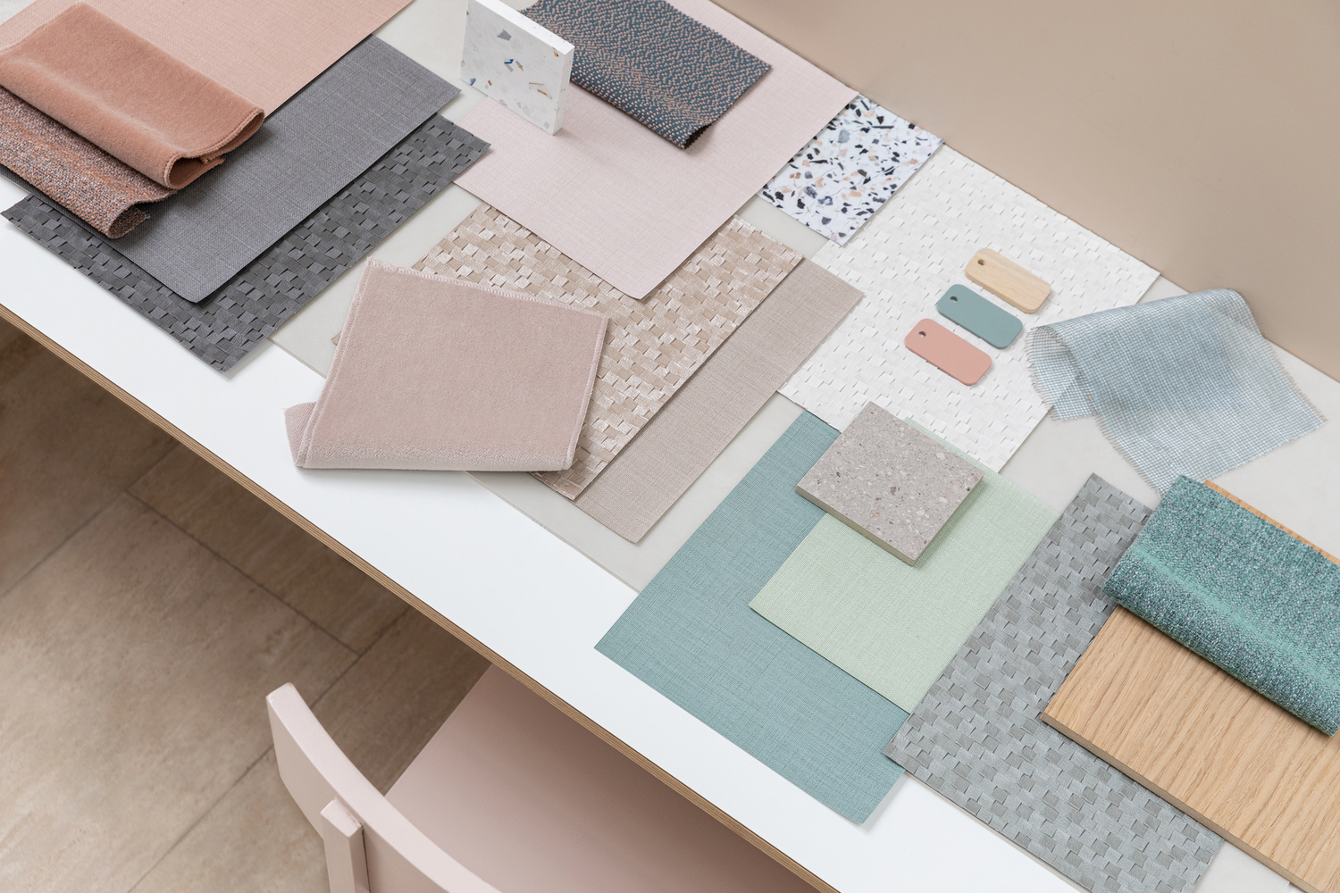 moodboard with various product samples