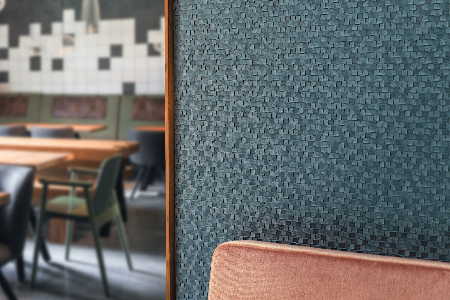 blue wallcovering with a heavy embossment in a hospitality setting