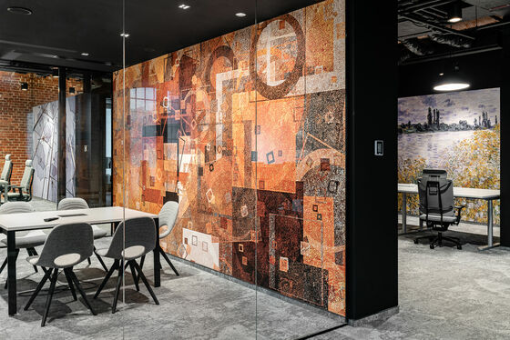 customized digitally printed wallcovering on a wall in an office space