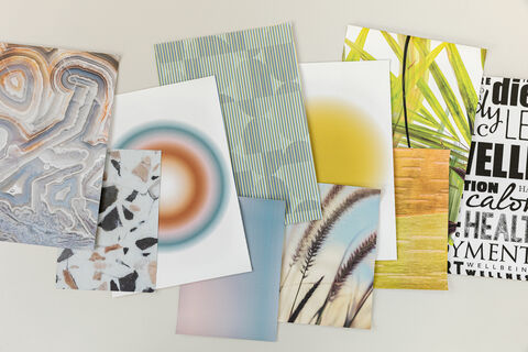 numerous samples with different customized digital printed wallcovering
