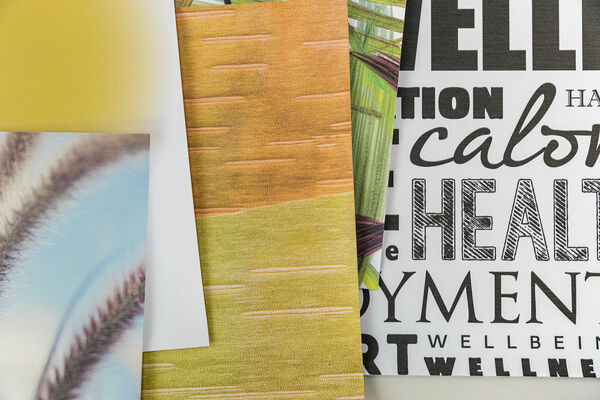 various samples with customized digital printed wallcovering