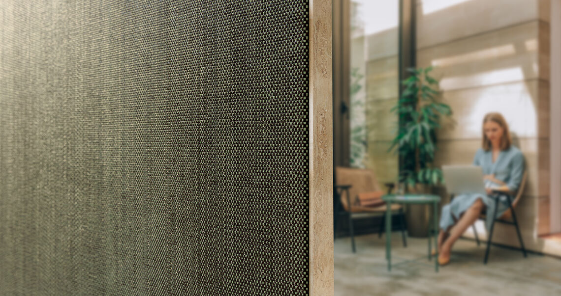 Xorel wallcovering applied in an hospitality setting
